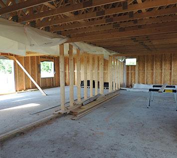 Intérieur chantier maison ossature bois